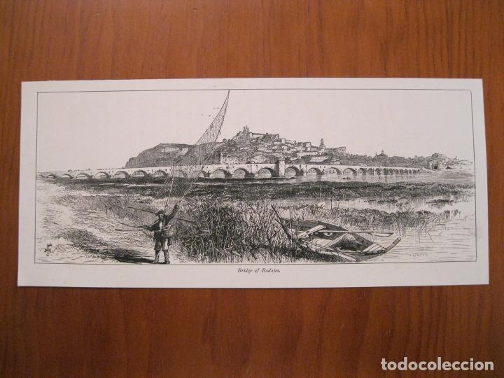 Arte: Vista del puente de Palmas en Badajoz( España), hacia 1840. Anónimo - Foto 2 - 193866460