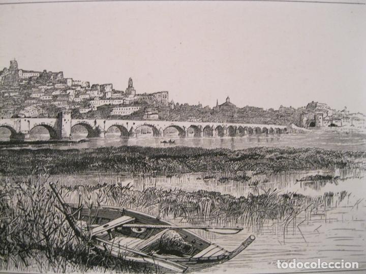 Arte: Vista del puente de Palmas en Badajoz( España), hacia 1840. Anónimo - Foto 3 - 193866460