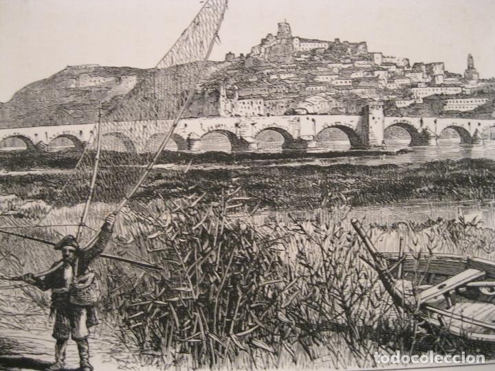 Arte: Vista del puente de Palmas en Badajoz( España), hacia 1840. Anónimo - Foto 4 - 193866460