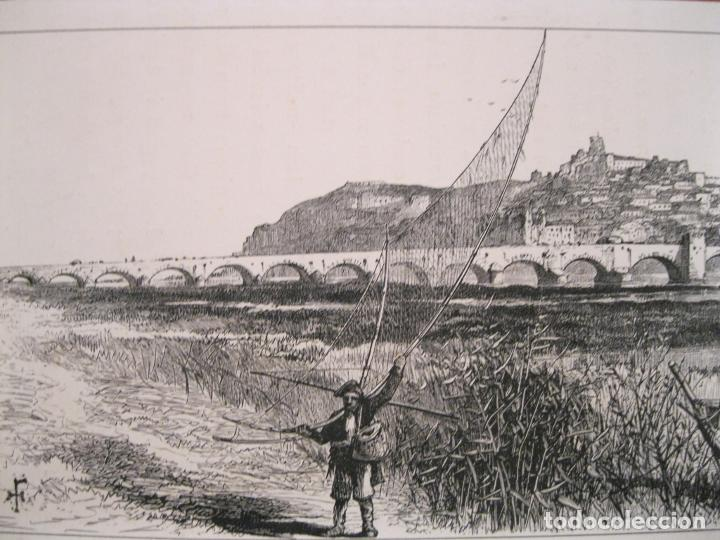 VISTA DEL PUENTE DE PALMAS EN BADAJOZ( ESPAÑA), HACIA 1840. ANÓNIMO (Arte - Grabados - Modernos siglo XIX)