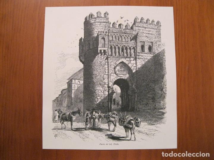 Arte: Puerta del Sol en Toledo y puente de S. Pablo en Cuenca (España), hacia 1840. Anónimo - Foto 2 - 193867226