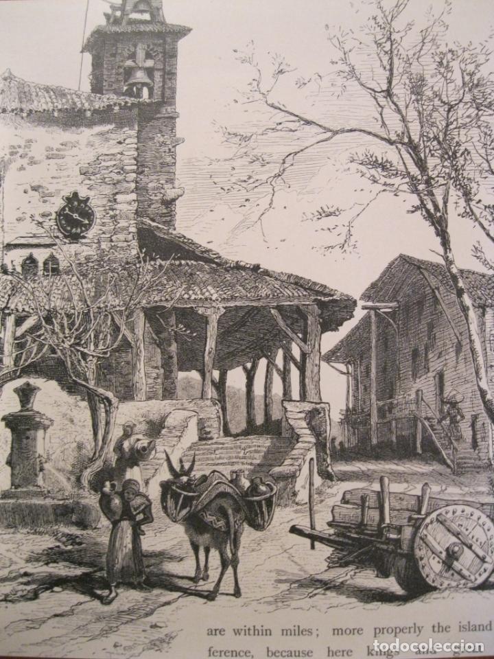 Arte: Antigua Plaza de la Constitución de Vitoria, Álava ( España) y vista rural , hacia 1840. Anónimo - Foto 3 - 193868118