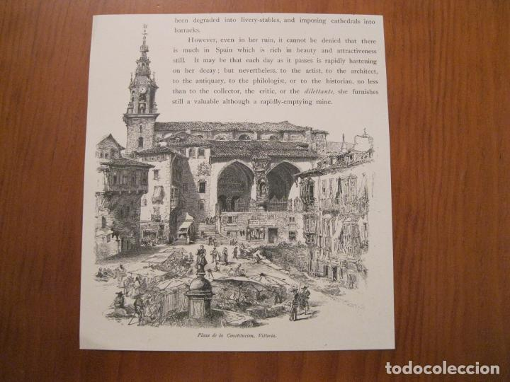 ANTIGUA PLAZA DE LA CONSTITUCIÓN DE VITORIA, ÁLAVA ( ESPAÑA) Y VISTA RURAL , HACIA 1840. ANÓNIMO (Arte - Grabados - Modernos siglo XIX)
