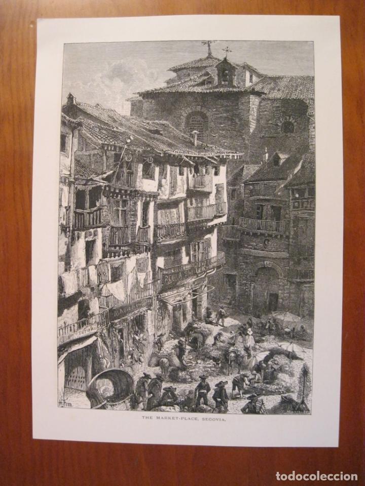Arte: Plaza del mercado en Segovia y murallas de Ávila (España), ca. 1840. Anónimo - Foto 2 - 193868410