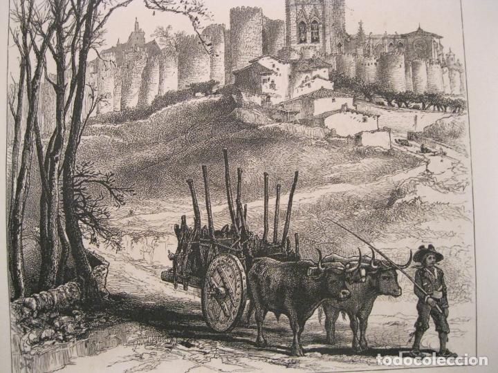 Arte: Plaza del mercado en Segovia y murallas de Ávila (España), ca. 1840. Anónimo - Foto 4 - 193868410