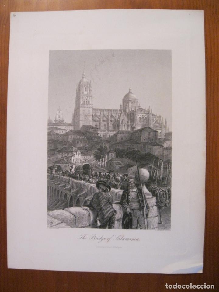 Arte: Catedral y puente romano de la ciudad de Salamanca (España), hacia 1850. Pinx/Güdfrey - Foto 2 - 193868542