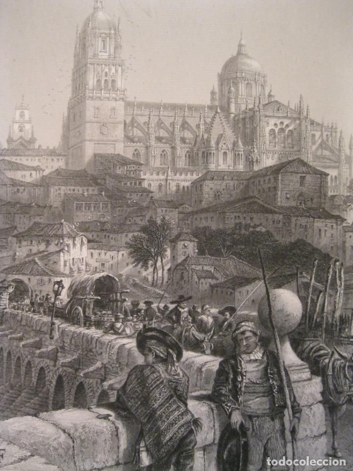 Arte: Catedral y puente romano de la ciudad de Salamanca (España), hacia 1850. Pinx/Güdfrey - Foto 3 - 193868542