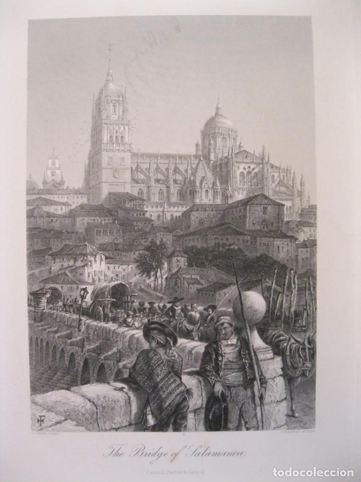 CATEDRAL Y PUENTE ROMANO DE LA CIUDAD DE SALAMANCA (ESPAÑA), HACIA 1850. PINX/GÜDFREY (Arte - Grabados - Modernos siglo XIX)