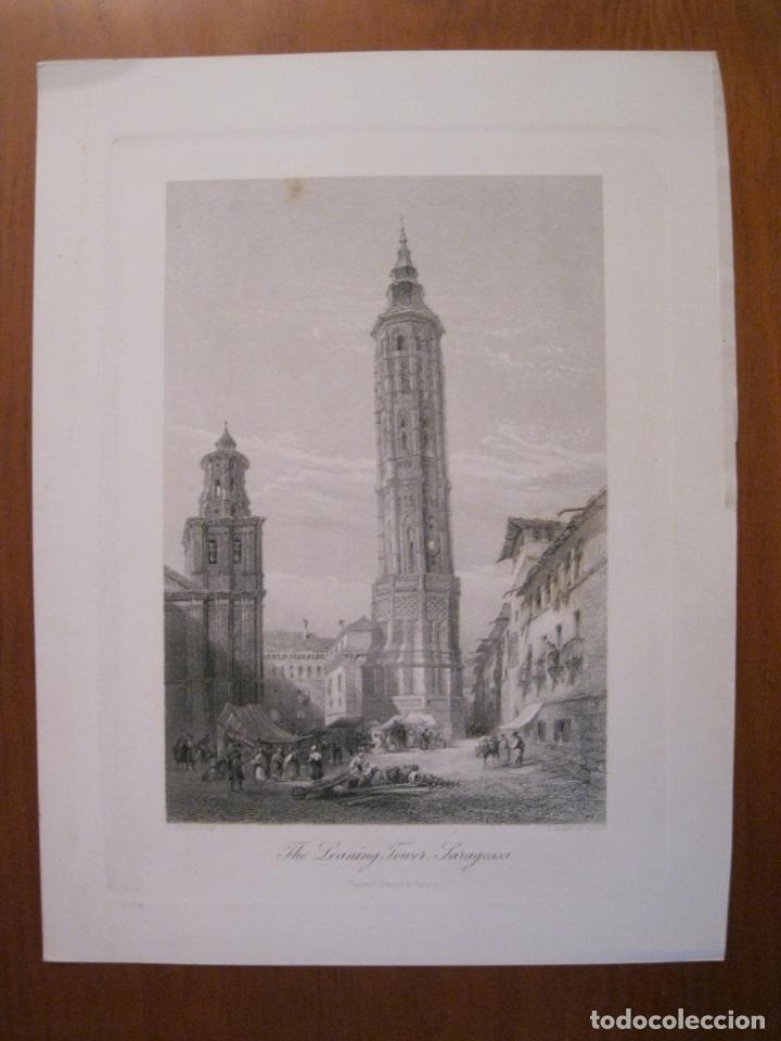 Arte: Vista de la Torre Inclinada de Zaragoza (España) hacia 1850. George Pinx/Heawood - Foto 2 - 193899462