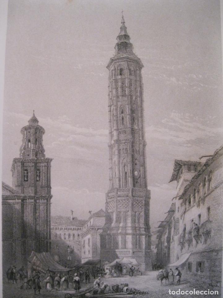 Arte: Vista de la Torre Inclinada de Zaragoza (España) hacia 1850. George Pinx/Heawood - Foto 3 - 193899462