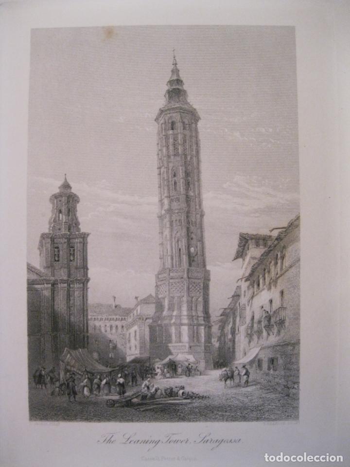 VISTA DE LA TORRE INCLINADA DE ZARAGOZA (ESPAÑA) HACIA 1850. GEORGE PINX/HEAWOOD (Arte - Grabados - Modernos siglo XIX)