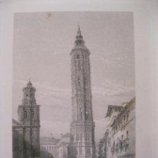 Arte: VISTA DE LA TORRE INCLINADA DE ZARAGOZA (ESPAÑA) HACIA 1850. GEORGE PINX/HEAWOOD. Lote 193899462