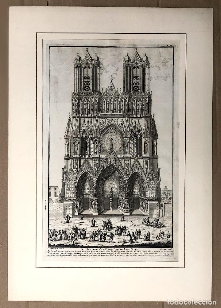 Arte: GRABADO VUE DU PORTAIL DE LEGLISE CATHÉDRALE DE REIMS. FRANCIA. SIGLO XVIII - Foto 2 - 193910798