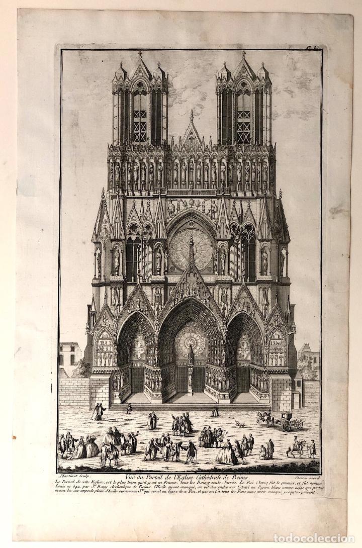 GRABADO VUE DU PORTAIL DE L'EGLISE CATHÉDRALE DE REIMS. FRANCIA. SIGLO XVIII (Arte - Grabados - Antiguos hasta el siglo XVIII)