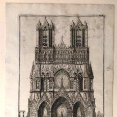 Arte: GRABADO VUE DU PORTAIL DE L'EGLISE CATHÉDRALE DE REIMS. FRANCIA. SIGLO XVIII. Lote 193910798