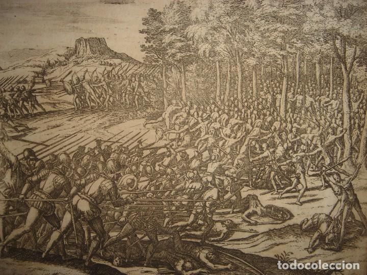RARÍSIMO GRABADO BATALLA MABILIA, ALABAMA, SOTO / TUSKALOOSA, USA, ORIGINAL, DE BRY, FRANKFURT,1655 (Arte - Grabados - Antiguos hasta el siglo XVIII)