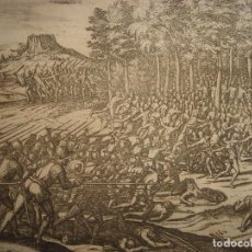 Arte: RARÍSIMO GRABADO BATALLA MABILIA, ALABAMA, SOTO / TUSKALOOSA, USA, ORIGINAL, DE BRY, FRANKFURT,1655. Lote 193943991