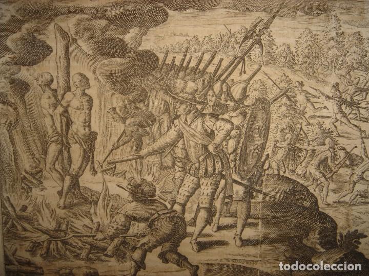 RARÍSIMO GRABADO, IRALA EJECUTA EN LA HOGURERA INDIOS PAYAGUES, ORIGINAL, DE BRY, FRANKFURT,1655. (Arte - Grabados - Antiguos hasta el siglo XVIII)