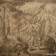 Arte: RARÍSIMO GRABADO, IRALA EJECUTA EN LA HOGURERA INDIOS PAYAGUES, ORIGINAL, DE BRY, FRANKFURT,1655.. Lote 193944345