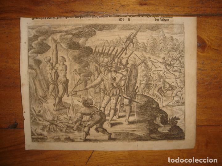 Arte: RARÍSIMO GRABADO, IRALA EJECUTA EN LA HOGURERA INDIOS PAYAGUES, ORIGINAL, DE BRY, FRANKFURT,1655. - Foto 2 - 193944345