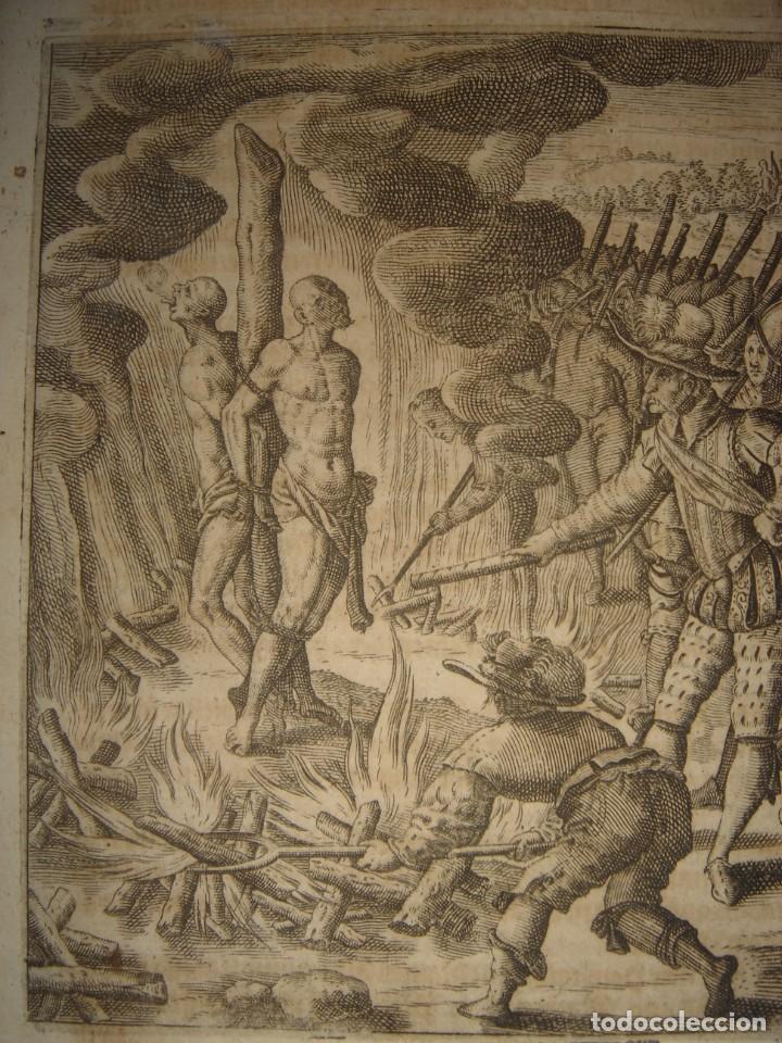 Arte: RARÍSIMO GRABADO, IRALA EJECUTA EN LA HOGURERA INDIOS PAYAGUES, ORIGINAL, DE BRY, FRANKFURT,1655. - Foto 3 - 193944345