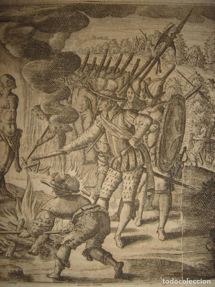 Arte: RARÍSIMO GRABADO, IRALA EJECUTA EN LA HOGURERA INDIOS PAYAGUES, ORIGINAL, DE BRY, FRANKFURT,1655. - Foto 4 - 193944345