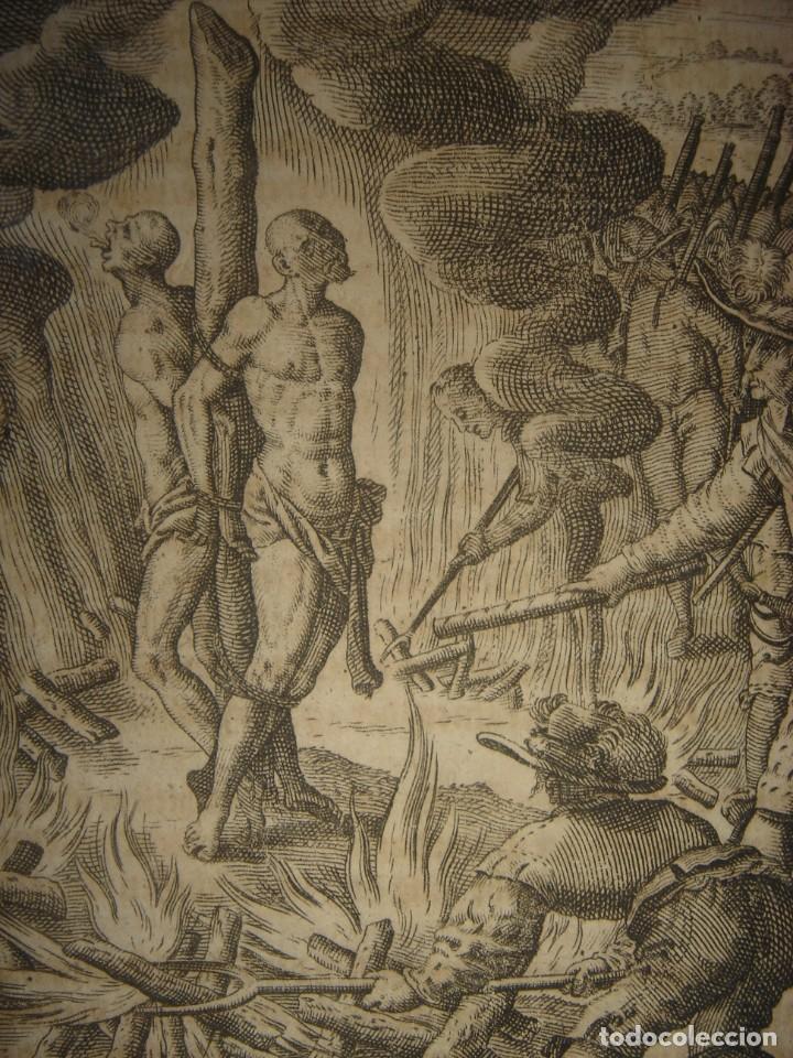 Arte: RARÍSIMO GRABADO, IRALA EJECUTA EN LA HOGURERA INDIOS PAYAGUES, ORIGINAL, DE BRY, FRANKFURT,1655. - Foto 6 - 193944345
