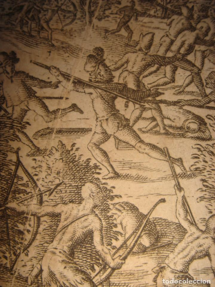 Arte: RARÍSIMO GRABADO, IRALA EJECUTA EN LA HOGURERA INDIOS PAYAGUES, ORIGINAL, DE BRY, FRANKFURT,1655. - Foto 13 - 193944345