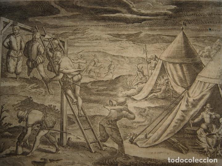 RARÍSIMO GRABADO, ANTROPOFAGIA ENTRE ESPAÑOLES EN BUENOS AIRES, ORIGINAL, DE BRY, FRANKFURT,1655. (Arte - Grabados - Antiguos hasta el siglo XVIII)