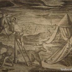 Arte: RARÍSIMO GRABADO, ANTROPOFAGIA ENTRE ESPAÑOLES EN BUENOS AIRES, ORIGINAL, DE BRY, FRANKFURT,1655.. Lote 193944657