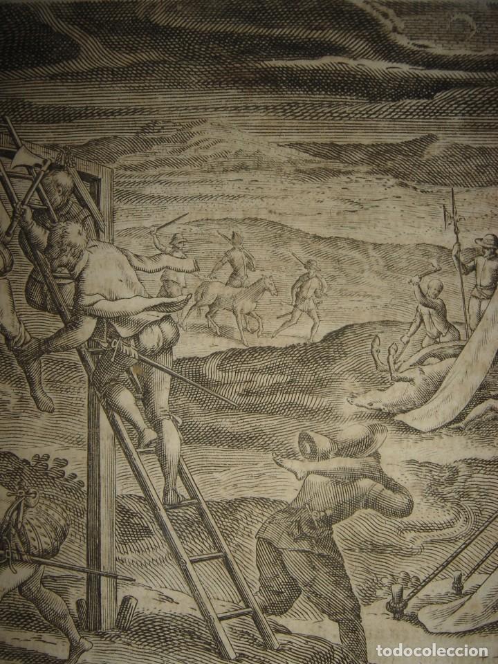 Arte: RARÍSIMO GRABADO, ANTROPOFAGIA ENTRE ESPAÑOLES EN BUENOS AIRES, ORIGINAL, DE BRY, FRANKFURT,1655. - Foto 3 - 193944657