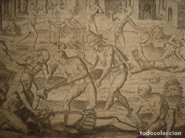 RARÍSIMO GRABADO, INDIOS VIERTEN ORO LÍQUIDO SOBRE ESPAÑOLES, ORIGINAL, DE BRY, FRANKFURT,1655. (Arte - Grabados - Antiguos hasta el siglo XVIII)