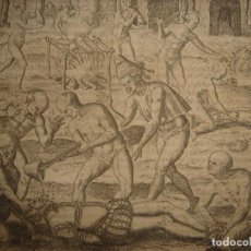 Arte: RARÍSIMO GRABADO, INDIOS VIERTEN ORO LÍQUIDO SOBRE ESPAÑOLES, ORIGINAL, DE BRY, FRANKFURT,1655.. Lote 193944892