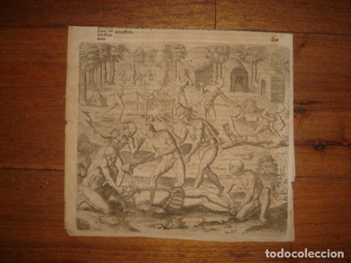 Arte: RARÍSIMO GRABADO, INDIOS VIERTEN ORO LÍQUIDO SOBRE ESPAÑOLES, ORIGINAL, DE BRY, FRANKFURT,1655. - Foto 2 - 193944892