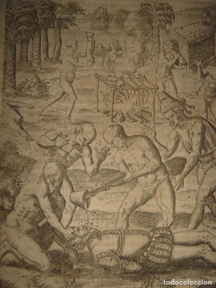 Arte: RARÍSIMO GRABADO, INDIOS VIERTEN ORO LÍQUIDO SOBRE ESPAÑOLES, ORIGINAL, DE BRY, FRANKFURT,1655. - Foto 3 - 193944892
