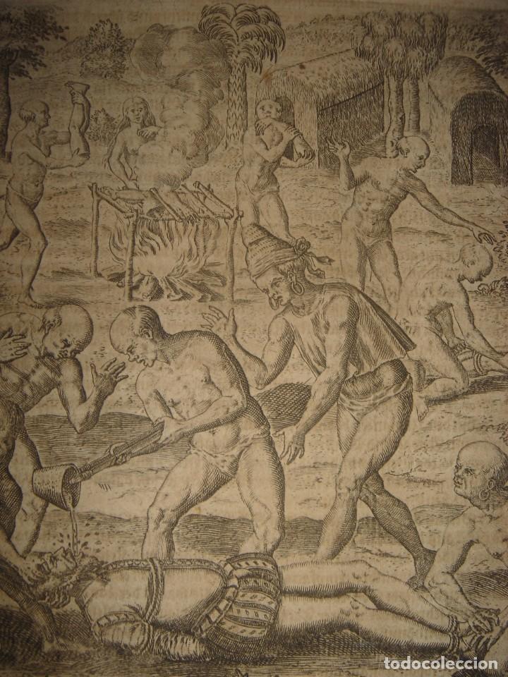 Arte: RARÍSIMO GRABADO, INDIOS VIERTEN ORO LÍQUIDO SOBRE ESPAÑOLES, ORIGINAL, DE BRY, FRANKFURT,1655. - Foto 4 - 193944892