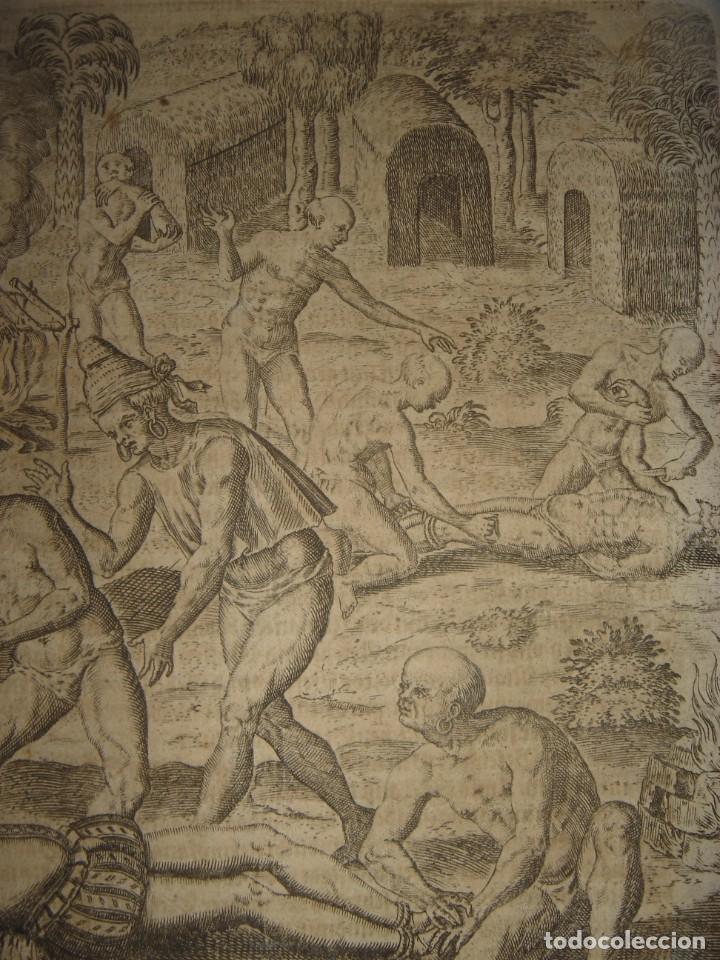 Arte: RARÍSIMO GRABADO, INDIOS VIERTEN ORO LÍQUIDO SOBRE ESPAÑOLES, ORIGINAL, DE BRY, FRANKFURT,1655. - Foto 5 - 193944892