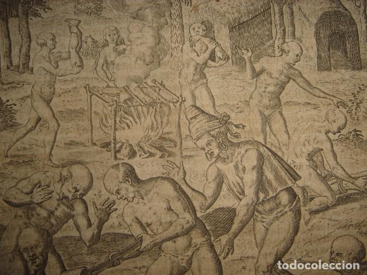 Arte: RARÍSIMO GRABADO, INDIOS VIERTEN ORO LÍQUIDO SOBRE ESPAÑOLES, ORIGINAL, DE BRY, FRANKFURT,1655. - Foto 6 - 193944892