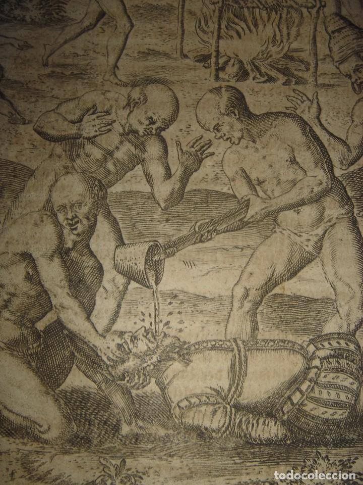 Arte: RARÍSIMO GRABADO, INDIOS VIERTEN ORO LÍQUIDO SOBRE ESPAÑOLES, ORIGINAL, DE BRY, FRANKFURT,1655. - Foto 8 - 193944892