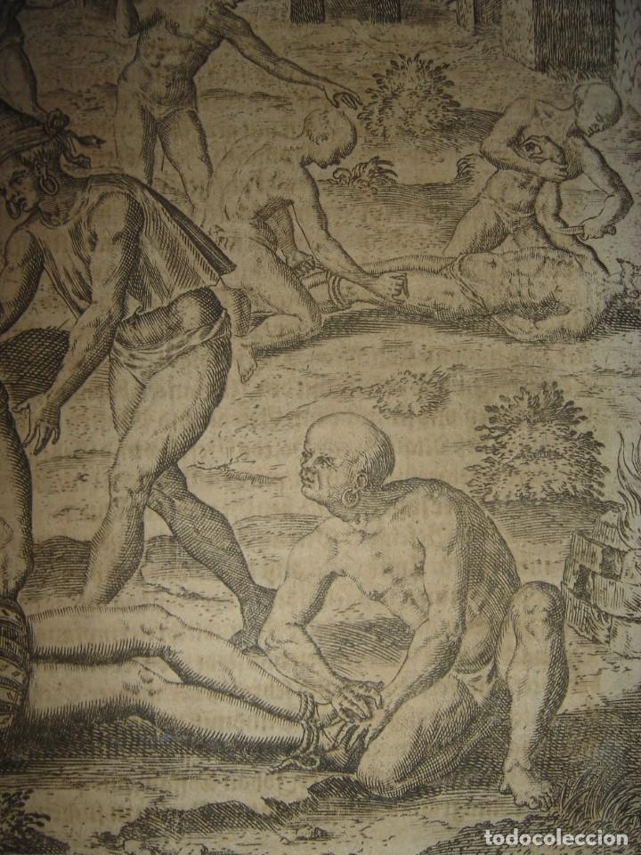 Arte: RARÍSIMO GRABADO, INDIOS VIERTEN ORO LÍQUIDO SOBRE ESPAÑOLES, ORIGINAL, DE BRY, FRANKFURT,1655. - Foto 9 - 193944892