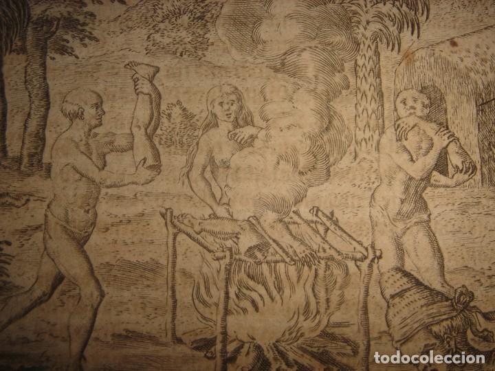 Arte: RARÍSIMO GRABADO, INDIOS VIERTEN ORO LÍQUIDO SOBRE ESPAÑOLES, ORIGINAL, DE BRY, FRANKFURT,1655. - Foto 10 - 193944892