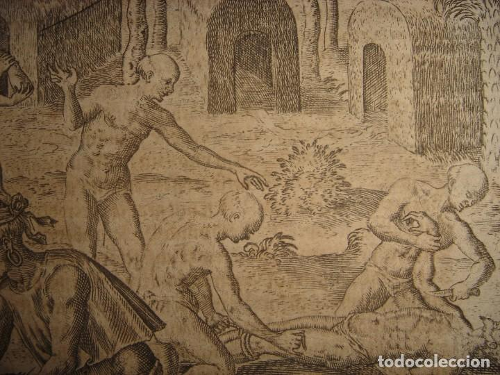 Arte: RARÍSIMO GRABADO, INDIOS VIERTEN ORO LÍQUIDO SOBRE ESPAÑOLES, ORIGINAL, DE BRY, FRANKFURT,1655. - Foto 11 - 193944892