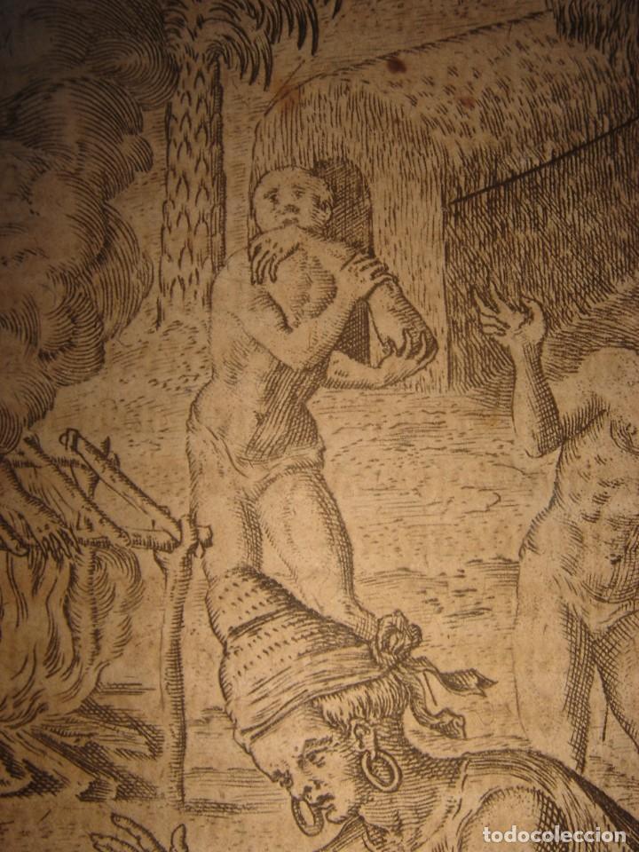 Arte: RARÍSIMO GRABADO, INDIOS VIERTEN ORO LÍQUIDO SOBRE ESPAÑOLES, ORIGINAL, DE BRY, FRANKFURT,1655. - Foto 12 - 193944892