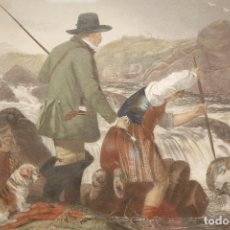 Arte: WILLIMAN HENYR SIMMONS (1811/1882)_ RICHARD ANSDELL / FISHING, GAFFING A SALMON. Lote 194079231