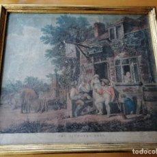 Arte: THE ALEHOUSE DOOR (CERVECERIA) , MEDIATINTA, 1802. DESPUES DE J.J. CHALON. GRABADO POR C. TURNER.. Lote 194132920