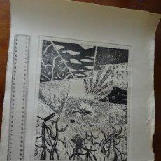 Arte: GRABADO FUTURISTA ORGÁNICO CON TEXTO QUE PARECE JAPONÉS, FIRMADO. Lote 194188035