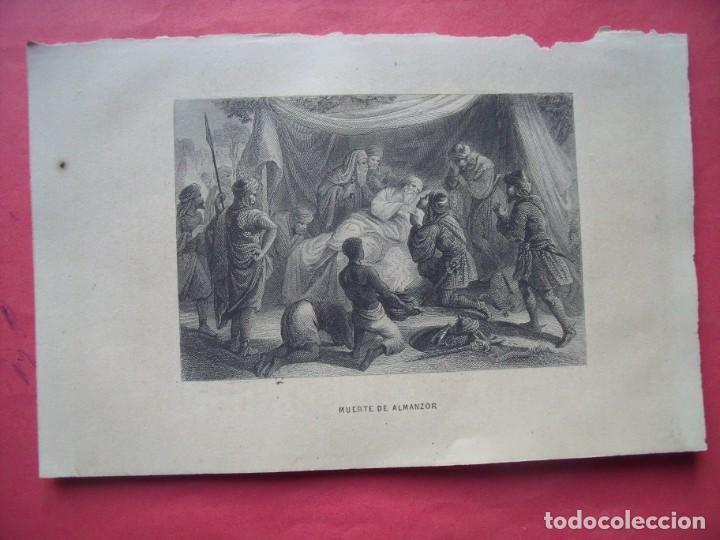 MUERTE DE ALMANZOR.-GRABADO.-SIGLO XIX. (Arte - Grabados - Modernos siglo XIX)