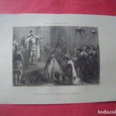 Arte: ACTO DE JUSTICIA DE DON ENRIQUE III EL DOLIENTE.-JANET.-GRABADO.-SIGLO XIX.. Lote 194226708