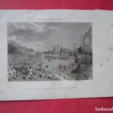 Arte: LLEGADA DE LOS ROMANOS A LA ISLA DE MALLORCA.-MALLORCA.-GRABADO.-SIGLO XIX.. Lote 194227018