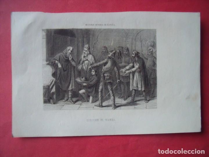 ELECCION DE WAMBA.-GRABADO.-SIGLO XIX. (Arte - Grabados - Modernos siglo XIX)